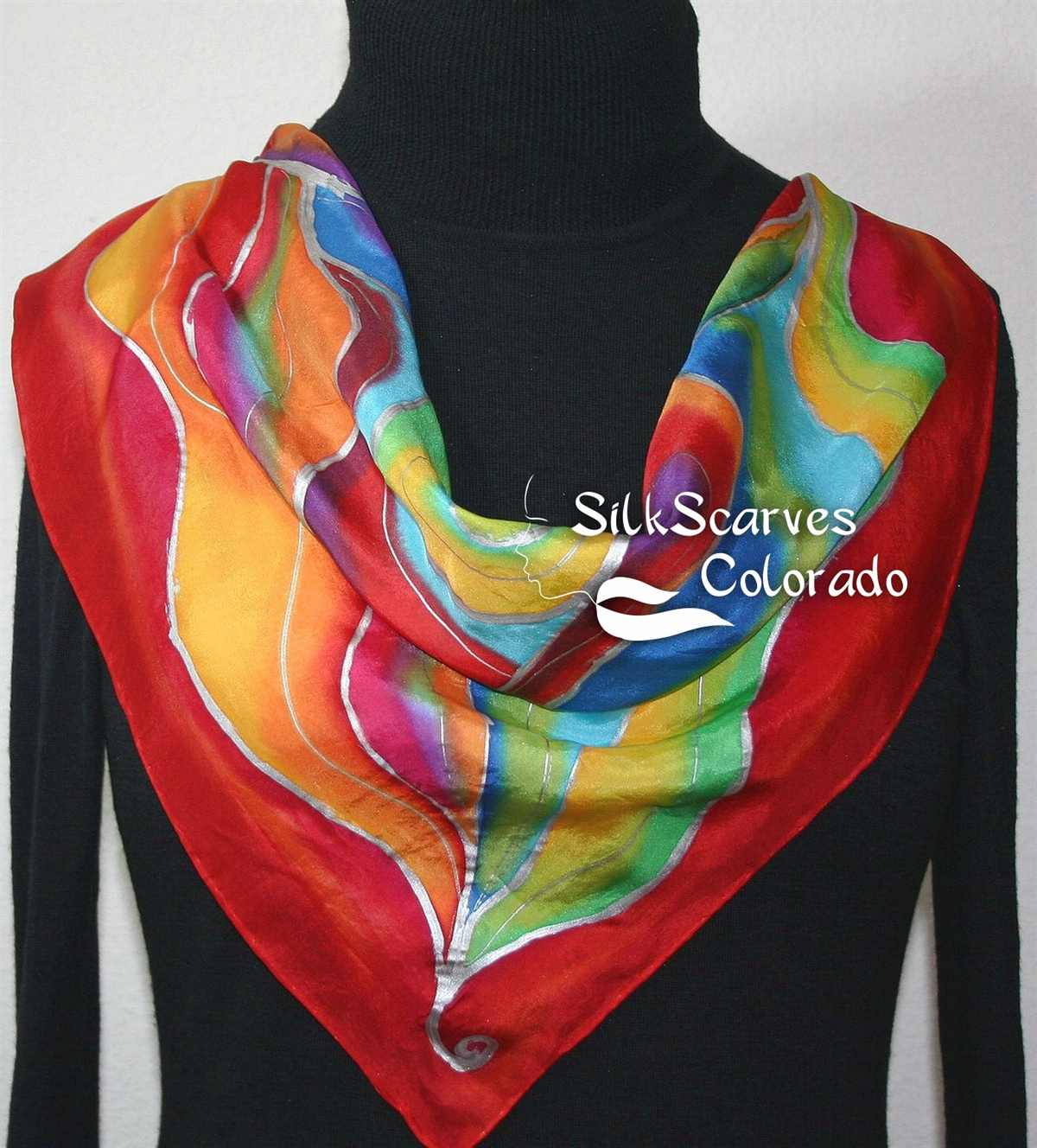 caf4bd960643 Silk Scarves Online Shop - Red Hand Painted Silk Scarf. Red