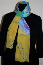 Beige Silk Scarf with Abstract Figures in Blue, Purple and Green