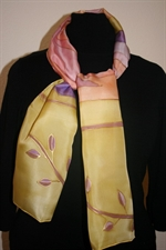 Yellow Silk Scarf with Abstract Figures in Purple and Orange