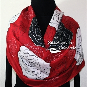 Red Silk Scarf. Black Hand Painted Scarf. White Handmade Silk Shawl FLYING ROSES. Extra Large 22x72. Birthday, Bridesmaid Gift. Gift-Wrapped