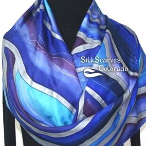 Blue Silk Scarf. Hand Painted Scarf. Purple Silk Shawl MOON WAVES. Size Large 14x72. Birthday Gift. Anniversary Gift. Gift Wrapped