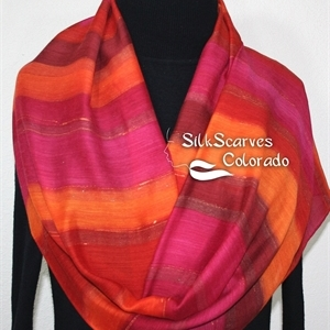 Hand Painted Silk-Wool Scarf. Burgundy, Red, Orange Handmade Silk-Wool Scarf SPANISH SUNSET. Size Large 14x68. Birthday Gift. Gift-Wrapped