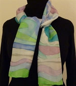 Blue and Green Silk Scarf with Spirals