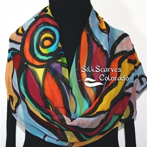 Multicolored Silk Shawl. Orange, Yellow, Hand Painted Wrap. Teal, Blue Handmade Chiffon Scarf GALACTIC JOY. Luxurious Large 22x90. Birthday Gift.