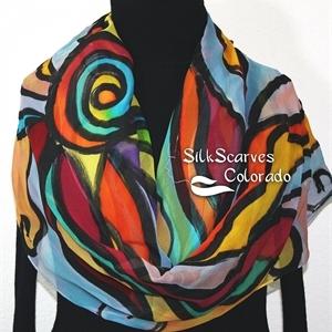 Multicolored Silk Shawl. Orange, Yellow, Hand Painted Wrap. Teal, Blue Handmade Chiffon Scarf GALACTIC JOY. Luxurious Large 22x90. Birthday Gift.