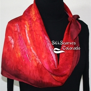 Red Silk Scarf. Merlot Red Hand Painted Scarf. Handmade Square Scarf BURNING PASSION. Birthday Gift. Bridesmaid Gift. Gift-Wrapped. Size 30x30 square.
