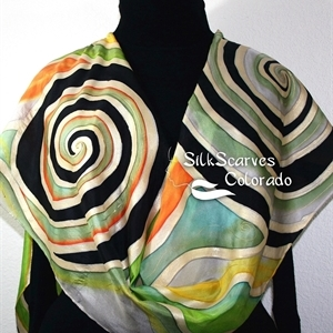 Black Silk Scarf. Green Hand Painted Silk Scarf. Gold Silk Shawl. BEAUTIFUL DAY. Large 14x72. Birthday Gift. Free Gift Wrapping.