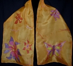 Butterflies and Flowers Orange Silk Scarf