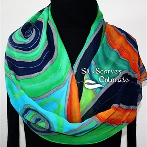 Green Silk Scarf. Blue Hand Painted Chiffon Silk Shawl. Orange Silk Scarf OCEAN SPIRIT. Size Large 14x72. Birthday Gift. Gift-Wrapped Scarf.