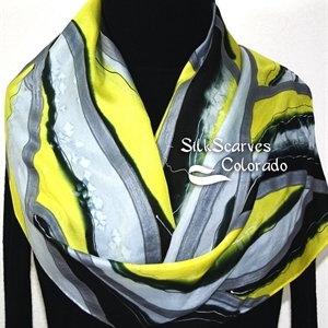 Yellow Silk Scarf. Grey Hand Painted Silk Shawl. Hand Dyed Silk Scarf WINTER MORNING Size 11x60. Birthday Gift. Gift-Wrapped.
