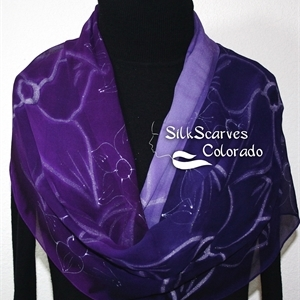Purple Silk Scarf. Hand Painted Chiffon Silk Shawl. Lavender Hand Dyed Silk Scarf DREAM FLOWERS. Large 14x72. Birthday Gift. Gift-Wrapped