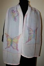 Pale Pink Silk Shawl with Butterflies