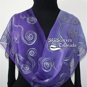 Purple Silk Scarf. Lavender Hand Painted Silk Shawl. Handmade Chiffon Silk Scarf PURPLE WAVES, Size 11x60. Birthday Gift Scarf, Gift-Wrapped