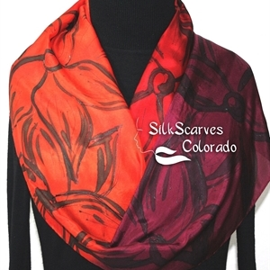 Red Silk Scarf. Burgundy Hand Painted Silk Shawl. Handmade Silk Scarf FLOWER MEADOW. Size 11x60. Bridesmaid Gift. Gift-Wrapped.