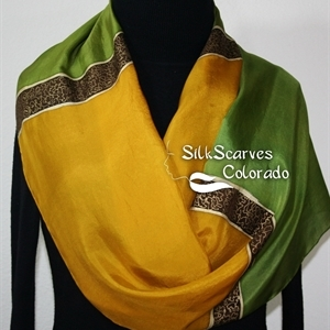 Golden Terracotta Silk Scarf. Antique Green Hand Painted Silk Shawl. Silk Scarf GOLDEN DAYS. Large 14x72. Birthday Gift. Gift-Wrapped.