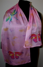 Pink Silk Scarf with Fuchsia Butterflies