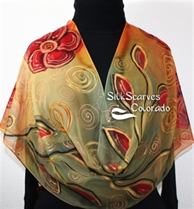 Olive, Copper Chiffon Hand Painted Silk Shawl. Handmade Scarf CANYON FLOWERS. Large 14x72. Bridesmaid Gift. Gift-Wrapped