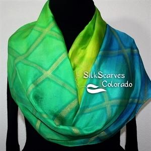 Handpainted Silk Scarf. Green, Lime, Yellow Hand Painted Silk Shawl. Handmade Scarf ORIENTAL DREAM. Size 11x60. Birthday, Bridesmaid Gift. Gift-Wrapp