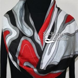 Silk Scarf Handpainted. Gray, Red, Black, White Hand Dyed Silk Wrap. Handmade Silk Shawl WINTER LOVE. Size 11x60. Birthday Gift. Gift Wrapped.