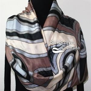 Brown, Beige Hand Painted Silk Scarf. Handmade Silk Shawl ESPRESSO SWIRLS. Extra Large 22x72. Anniversary Gift, Birthday Gift, Mother Gift. Gift-Wrapp