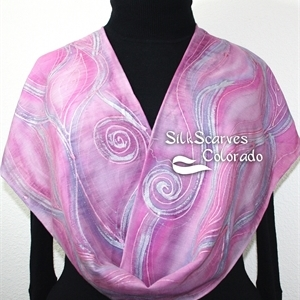 Pink Silk Wool Scarf. Warm Hand Painted Silk-Wool Scarf ICY SUNRISE. Size 14x70. Birthday Gift, Bridesmaid Gift, Mother Gift. Gift-Wrapped.