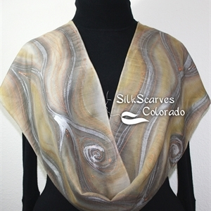 Beige Silk Wool Scarf. Warm Hand Painted Silk-Wool Scarf WINTER SANDS. Size 10.5x59. Birthday Gift, Bridesmaid Gift, Mother Gift. Gift-Wrapped.