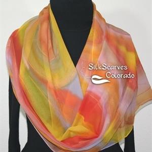 Silk Scarf Handpainted. Coral, Yellow, Lavender Hand Dyed Silk Wrap. Handmade Silk Shawl FAIRY MAGIC. Luxurious Big 22x90. Birthday Gift, Bridesmaid G