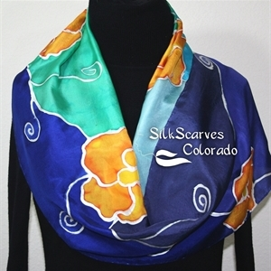 Navy Blue, Orange Hand Painted Silk Scarf ORANGE FLOWERS. Size 11x60. Birthday Gift, Bridesmaid Gift, Mother Gift. Gift-Wrapped.