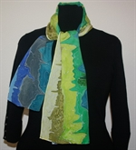 Blue-Green-and-Yellow Silk Scarf