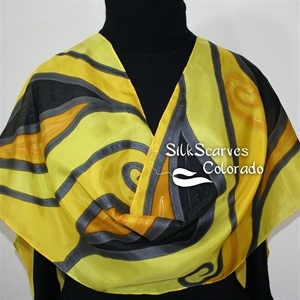 Yellow, Black Hand Painted Silk Shawl GOLDEN HARVEST Large 14x72. Birthday Gift, Bridesmaid Gift, Mother Gift. Gift-Wrapped.