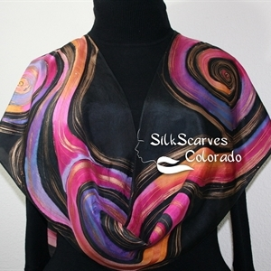 Black, Pink, Purple, Orange Hand Painted Silk Scarf LUNAR WINDS. Size 14x72. Birthday Gift, Bridesmaid Gift, Mother Gift. Gift-Wrapped.