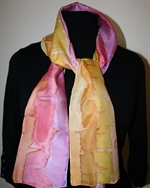 Pink-Purple-and-Yellow Hearbeat Stripes Silk Scarf