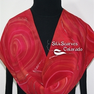 Red, Terracotta Silk Scarf Handpainted RED STORM. Size 11x60. Anniversary, Birthday Gift. Bridesmaid Gift. Gift-Wrapped.