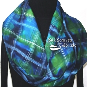 Blue, Green Hand Painted Tartan Silk Scarf SCOTTISH SUMMER. Size 11x60. Anniversary, Birthday Gift. Bridesmaid Gift. Gift-Wrapped.
