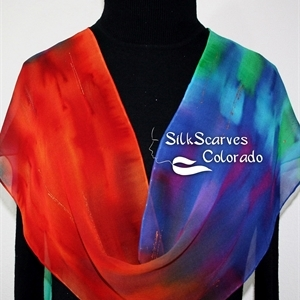 Red, Green, Blue Hand Painted Chiffon Silk Shawl NEON FLAMES. Size 14x72. Birthday Gift, Bridesmaid Gift, Mother Gift. Gift-Wrapped.