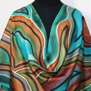 Teal, Turquoise, Brown Hand Painted Silk Shawl MISTY MORNING 1. Extra Large 22x72. Birthday, Anniversary Gift, Bridesmaid Gift, Mother Gift.