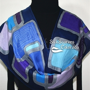 Blue, Purple Handpainted Silk Scarf JAZZ CLUB. Size 14x72. Birthday, Anniversary Gift.
