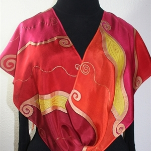 Red, Orange, Pink Handmade Silk Scarf WHISPERING FLAMES. Size 14x72. Hand Painted Shawl. Birthday, Anniversary Gift, Bridesmaid Gift, Mother Gift.