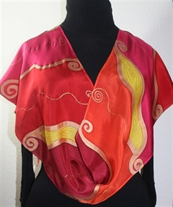 Red, Orange, Pink Handmade Silk Scarf WHISPERING FLAMES. Size 11x60. Hand Painted Shawl. Birthday, Anniversary Gift, Bridesmaid Gift, Mother Gift.