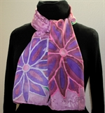 Purple Silk Scarf with Big Flowers