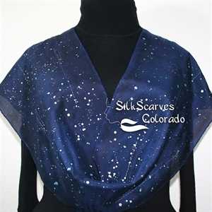 Navy Blue, Silver Handpainted Silk Scarf STARRY SKIES. Size 11x60. Hand Painted Shawl. Birthday, Anniversary Gift, Bridesmaid Gift, Christmas Gift.