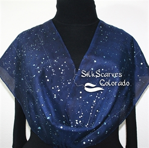 Navy Blue, Silver Handpainted Silk Scarf STARRY SKIES. Size 14x72. Hand Painted Shawl. Birthday, Anniversary Gift, Bridesmaid Gift, Christmas Gift.