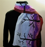Silk Scarf in Light Blue and Violet with Abstract Landscape Image