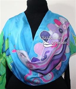 Turquoise, Purple, Green Hand Painted Silk Shawl PURPLE FISH. Large 14x72. Ocean-  Inspired Scarf. Anniversary Gift, Bridesmaid Gift, Graduation Gift