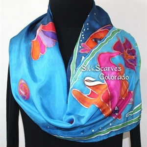 Blue, Turquoise Hand Painted Silk Shawl Silk Scarf FISH AND SHELLS. Size 11x60. Ocean-Inspired Scarf. Birthday Gift, Bridesmaid Gift, Graduation Gift