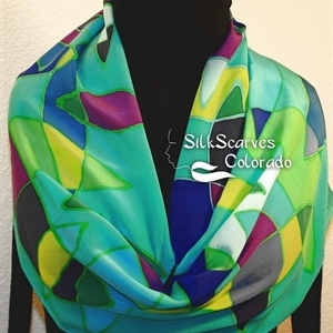 Teal, Yellow, Green Hand Painted Silk Shawl GLASS FISH. Large 14x72. Ocean-Inspired Scarf. Birthday Gift, Bridesmaid Gift, Christmas Gift.