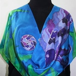 Blue, Purple, Green Hand Painted Silk Shawl MAKE A WISH. Large 14x72. Ocean-Inspired Scarf. Birthday Gift, Bridesmaid Gift, Silk Art.