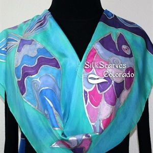 Teal, Purple Blue Hand Painted Silk Shawl THREE SMILING FISH. Large 14x72. Ocean-Inspired Scarf. Birthday Gift, Anniversary Gift, Silk Art.