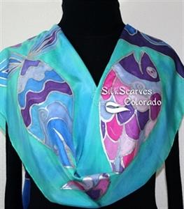 Teal, Purple Blue Hand Painted Silk Shawl THREE SMILING FISH. Large 14x72. Ocean-Inspired Scarf. Birthday Gift, Anniversary Gift, Silk Art.