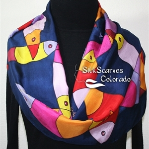 Navy Blue, Red, Yellow Hand Painted Silk Shawl FISH POND. Size 11x60. Ocean-Inspired Scarf. Birthday Gift, Bridesmaid Gift, Christmas Gift.